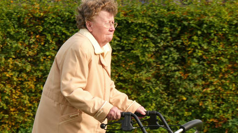 pensioner wheel walker in autumn park side close 11771 Footage