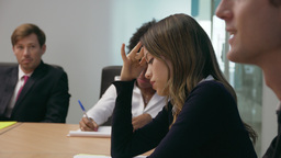 4 Woman In Office Conference Room Feels Sick At Meeting Footage