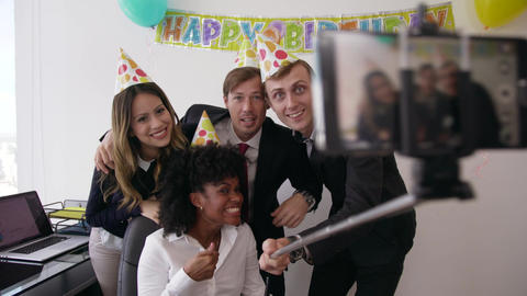 5 Business People Celebrating Colleague Birthday Party In Office Footage