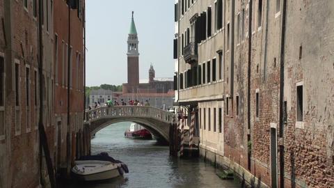 People walking over bridge at San Marco square Footage