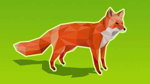 Zooming out of a red fox on green background turning white on the floe - low pol Animation