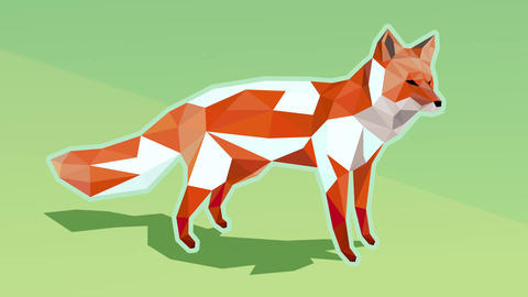 Geometric red fox on green background turning white on the floe when snowing - l Animation