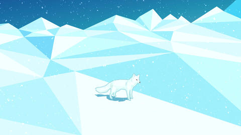 Animation with red fox on green background turning white on the floe - snow fall Animation