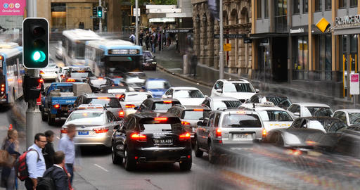 Sydney Australia establishing shot city street traffic and people time lapse Footage