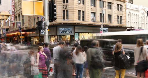 Sydney Australia George St city street traffic and people time lapse Footage