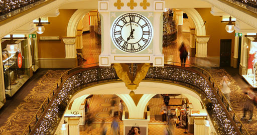 Shopping mall interior shop center time lapse crowd of people buying Footage
