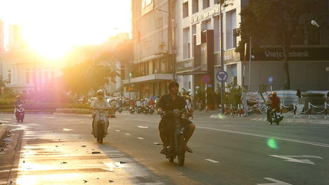 HO CHI MINH / SAIGON, VIETNAM - 2015: Streets busy asian city life slow motion Footage