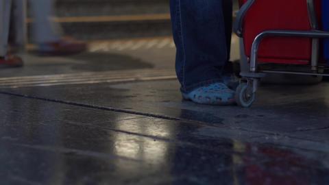 Washing floor in public space Footage