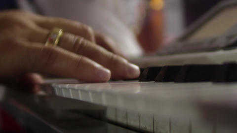 Hands of a pianist singing at a private party or concert 05 Footage
