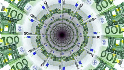 Background from euro banknotes in perspective view Animation