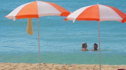Couple on the Karon beach Footage