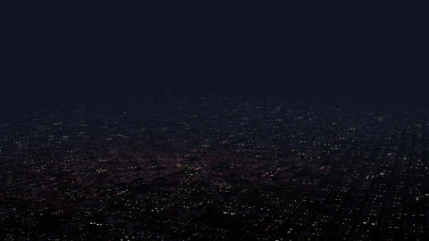 4 K Huge Flat Suburban Area at Night Aerial View 2 Animation