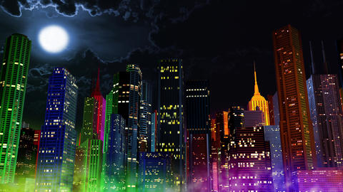 4 K Modern City Lit by Colorful Light Effects at Night 3 Animation