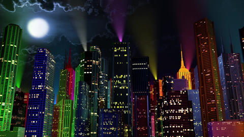 4 K Modern City Lit by Colorful Light Effects at Night 5 reflectors Animation