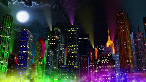 4 K Modern City Lit by Colorful Light Effects at Night 7 reflectors Animation