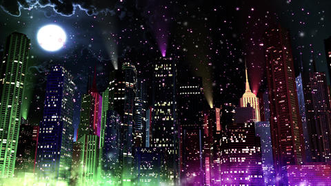 4 K Modern City Lit by Colorful Light Effects at Night in Magic Snowfall 4 refle Animation