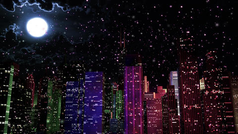 4 K Modern City Lit by Colorful Light Effects at Night in Magic Snowfall v 2 2 Animation
