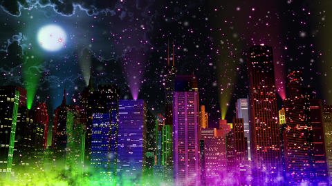 4 K Modern City Lit by Colorful Light Effects at Night in Magic Snowfall v 2 3 r Animation