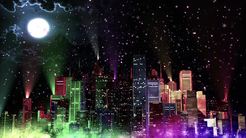 4 K Modern City Lit by Colorful Light Effects at Night in Magic Snowfall v 4 4 r Animation