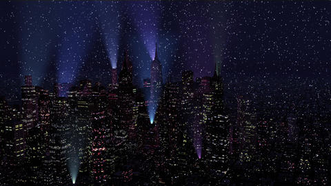 4 K Modern City Lit by Colorful Light Effects at Night in Snowfall Aerial View 2 Animation