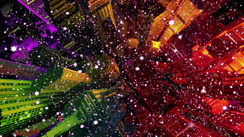 4 K Modern City Lit by Colorful Light Effects at Night in Snowfall Top View 1 Animation