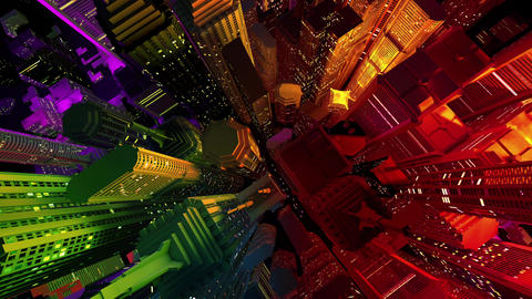 4 K Modern City Lit by Colorful Light Effects at Night Top View 1 Animation