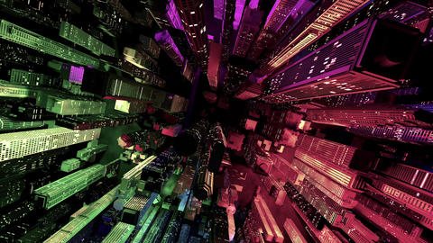 4 K Modern City Lit by Colorful Light Effects at Night Top View 4 Animation
