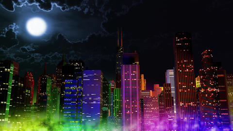 4 K Modern City Lit by Colorful Light Effects at Night v 2 3 Animation