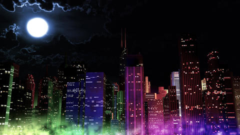 4 K Modern City Lit by Colorful Light Effects at Night v 2 4 Animation