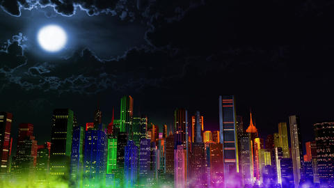 4 K Modern City Lit by Colorful Light Effects at Night v 3 3 Animation