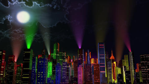4 K Modern City Lit by Colorful Light Effects at Night v 3 5 reflectors Animation