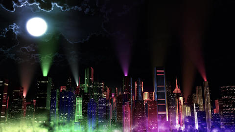 4 K Modern City Lit by Colorful Light Effects at Night v 3 8 reflectors Animation