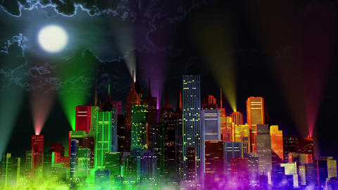 4 K Modern City Lit by Colorful Light Effects at Night v 4 7 reflectors Animation