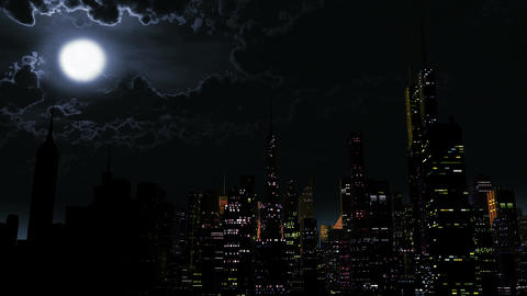 4 K Modern City Power Outage Energy Blackout at Night 2 Animation