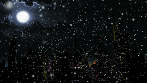 4 K Modern City Power Outage Energy Blackout at Night in Snowfall 3 Animation