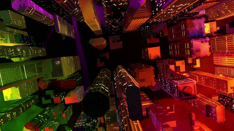 Modern City Lit by Colorful Light Effects at Night Aerial…, Stock Animation