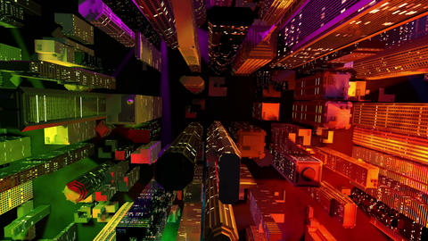 Modern City Lit by Colorful Light Effects at Night Aerial View 1 zoom out Animation