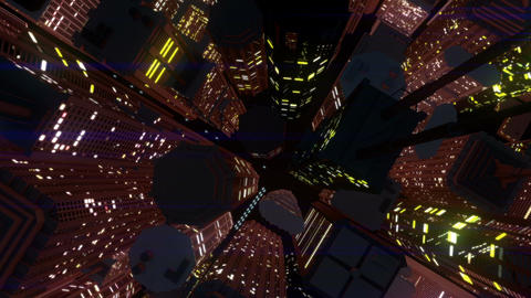 Modern City Lit by Colorful Light Effects at Night Top View 4 zoom out Animation