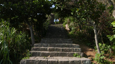 Climb up stony staircase, beautiful nature outdoors, Yehliu park Footage