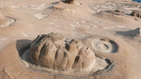 Natural eroded stone looks like human face, Yehliu Geopark Footage