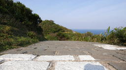 Static view of the stone paved path in Yehliu Geopark, View from the ground Footage