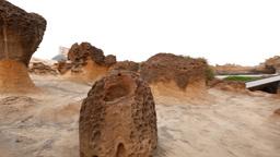 Unusual rock formations, mushroom stones at Yehliu Geopark Footage
