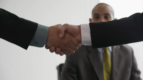 5 Business People Shaking Hands At Office Meeting With Advisor Footage