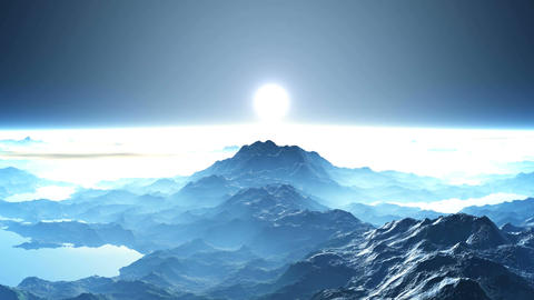 Sunrise over the mountain peaks Animation
