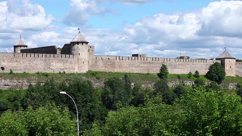 panorama view of the Ivangorod Fortress Footage