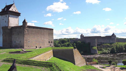 panorama view fortress of Narva and Ivangorod fortress Footage