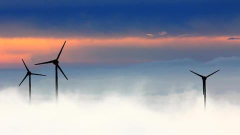 Wind turbine in clouds Animation