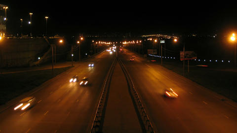 Krasnoyarsk City Night Traffic Timelapse 01 Stock Video Footage