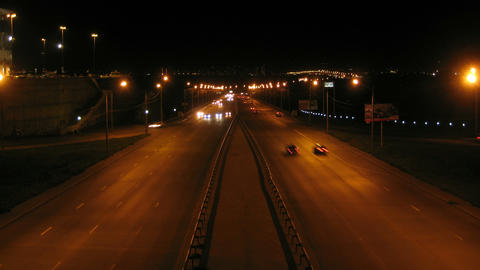 Krasnoyarsk City Night Traffic Timelapse 01 Footage