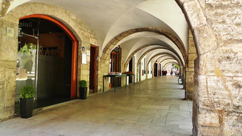 Arcade in South Europe 01 Stock Video Footage